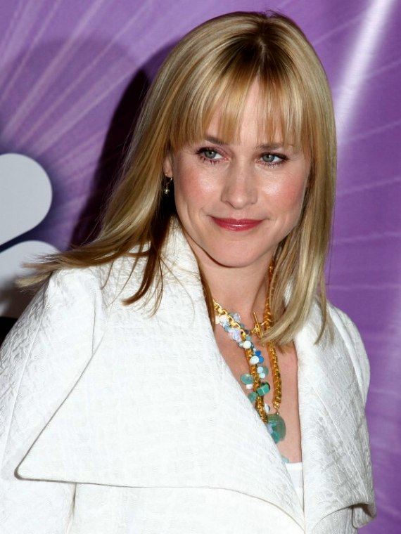 Patricia Arquette With Satiny Smooth Hair Cut In A Long Blunt Hairstyle