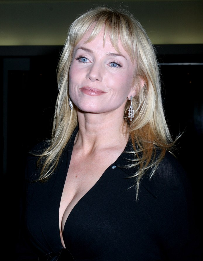 Rebecca De Mornay With Long Hair And Bangs That Fall Just