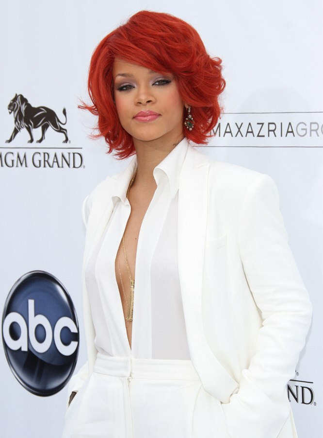 Rihanna Neck Length Hairstyle And A Fiery Red Hair Color