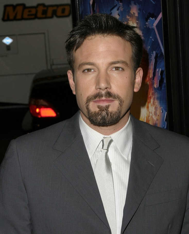 ben affleck with a short debonair hairstyle and sideburns