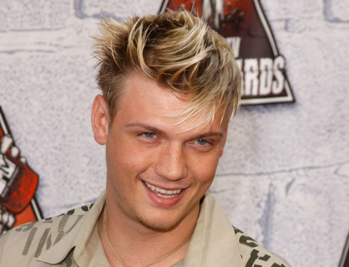 Nick Carter Sporting Highlighted Hair Cut In A Modified