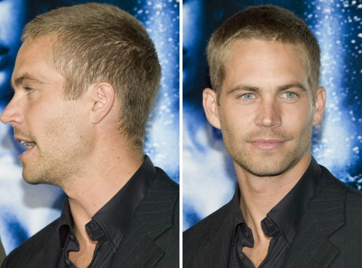Paul Walker with a uniformly clippered buzz cut