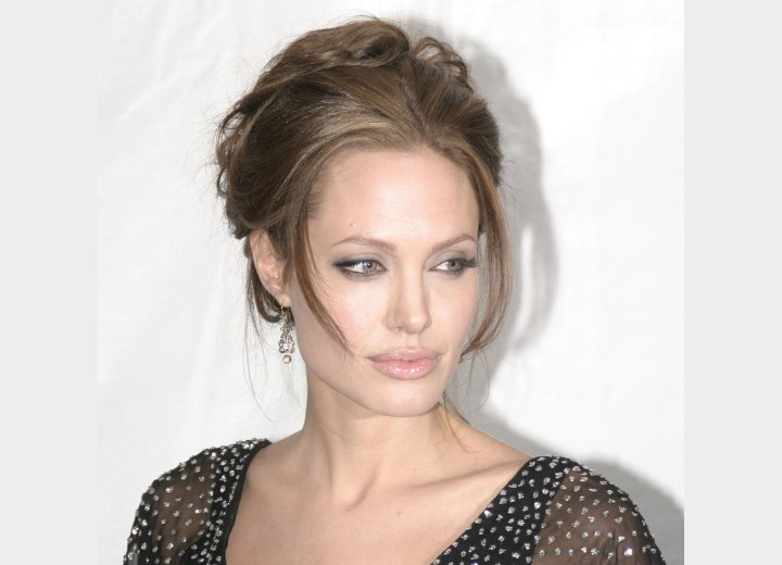 Angelina Jolie with her hair in an upstyle