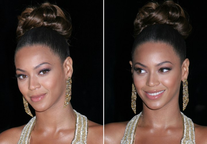 Beyonce wearing her hair up with curls