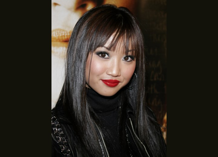 Brenda Song with long and smooth black hair