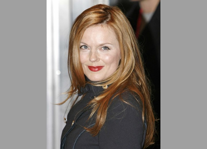 Geri Halliwell's long strawberry blonde hairstyle with layers