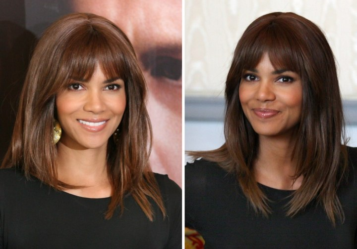 Halle Berry with a long and straight hairstyle