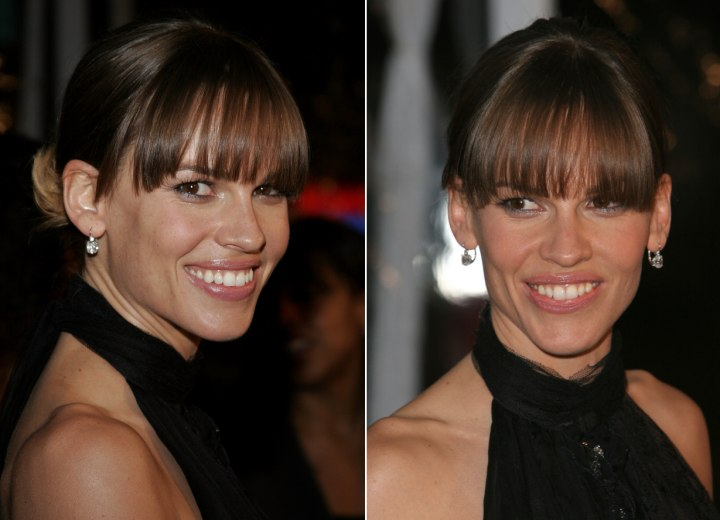 Hilary Swank Wearing Her Hair In A Simple Updo With Bangs