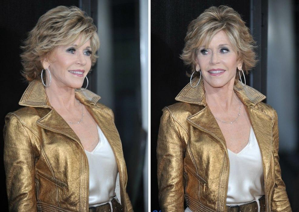 Jane Fonda wearing her hair in a shag