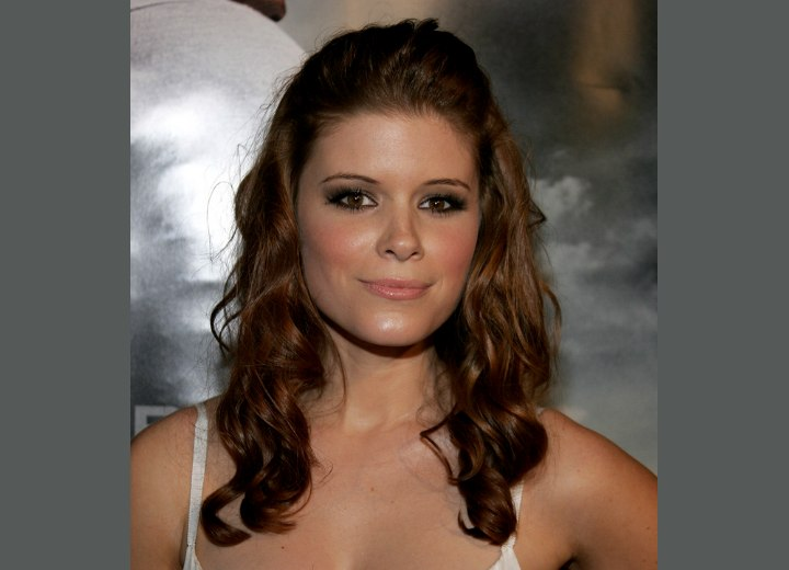 Kate Mara with her hair in sausage curls