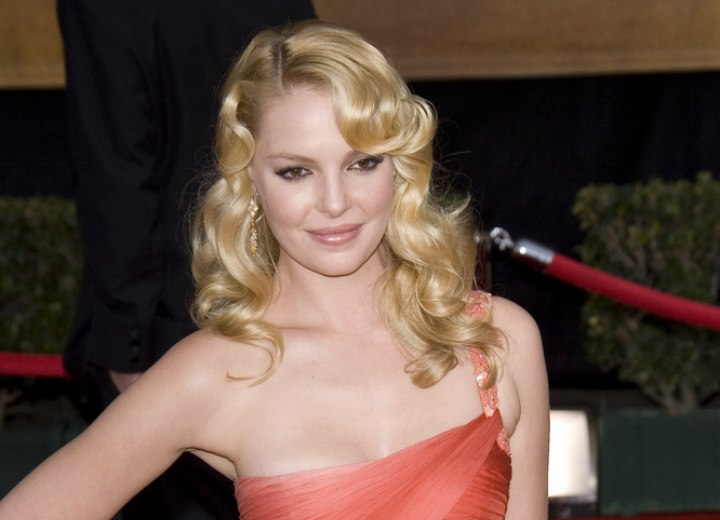 Katherine Heigl with long curled hair