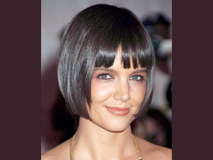 Katie Holmes With Her Shiny Short Bob Hairstyle
