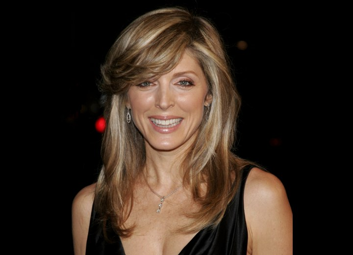 Marla Maples long hair with multiple foils