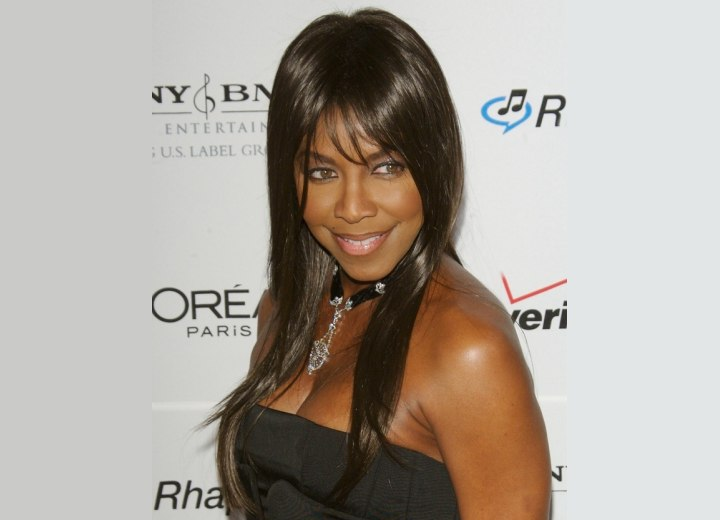 Natalie Cole with long hair