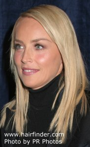 Sharon Stone with long hair