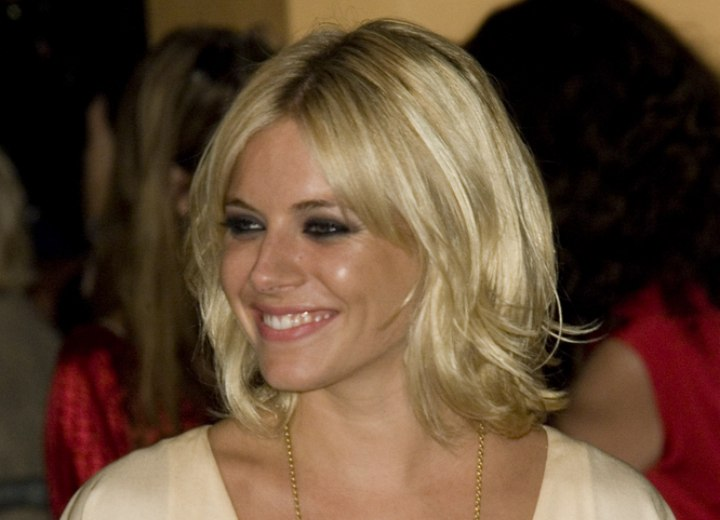 Sienna Miller with foiled blonde hair