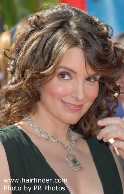 Tina Fey with her hair in curls