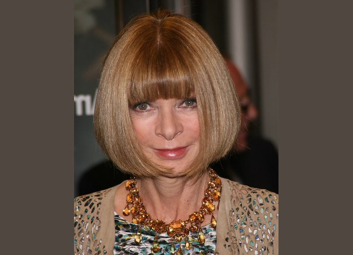 Anna Wintour - Bob hairstyle that is curved around the jaws