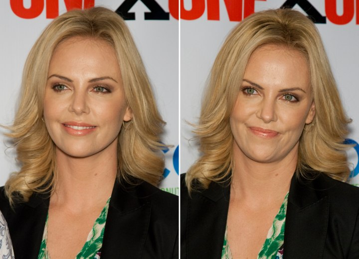 Charlize Theron's hair curled away from the face