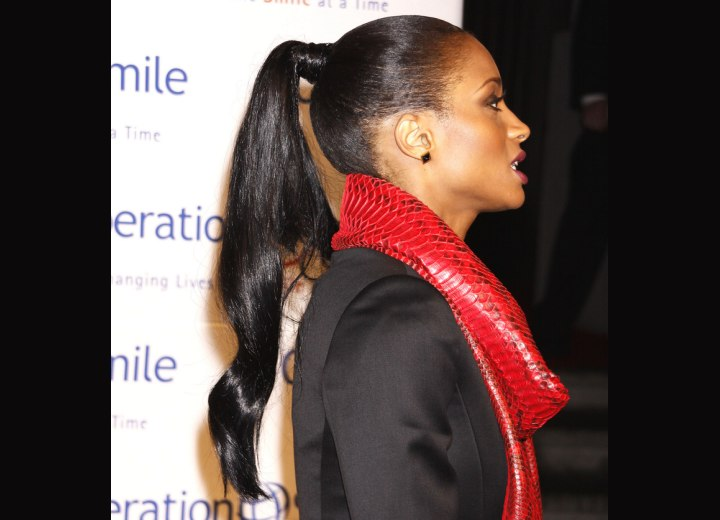 Ciara's exotic ponytail with her hair brushed tightly back ...