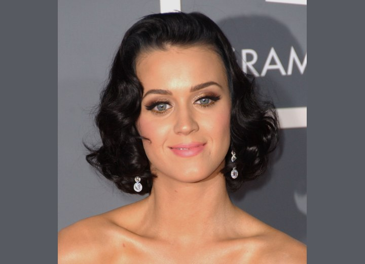 Katy Perry has stunning raven black hair filled with beautiful sexy waves