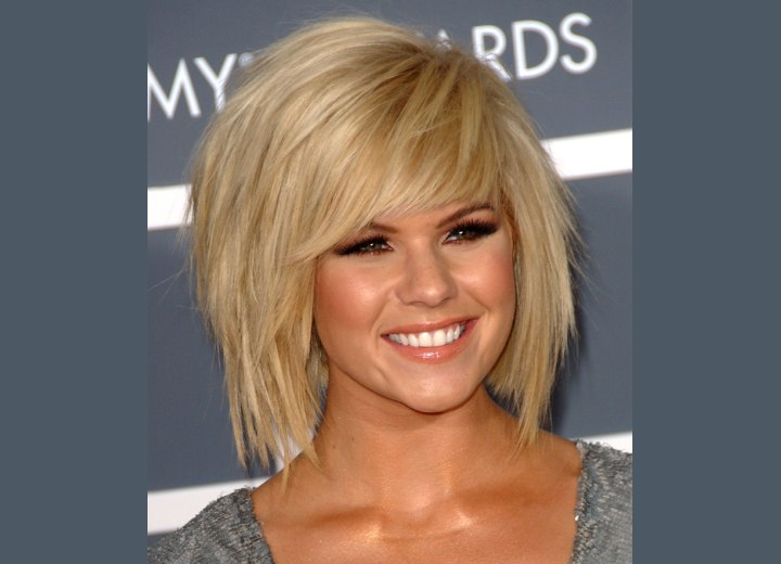 Choppy Hairstyles  Long Hair on Wearing A Ponytail And Kimberly Caldwell S Medium Long Choppy Haircut