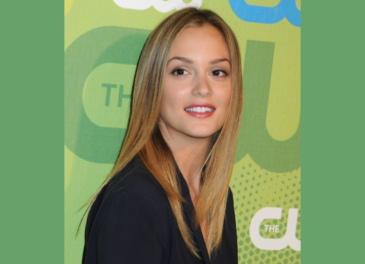 Leighton meester s long hair with silky straightness