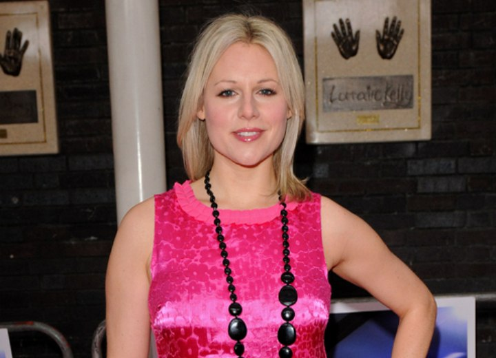 Abi Titmuss look with a shimmery pink top