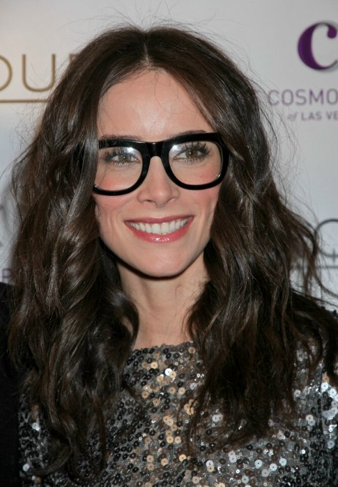Abigail Spencer Wearing Jumbo Black Glasses And With Her