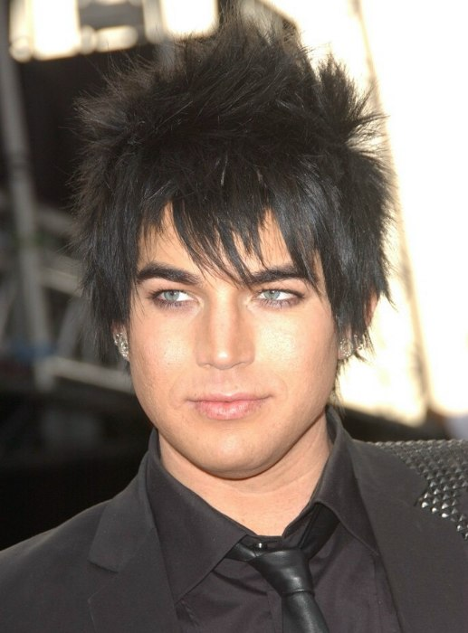 Brilliant Adam Lambert39S Spiked Hairstyle With A Blue Coal Dark Color Short Hairstyles For Black Women Fulllsitofus