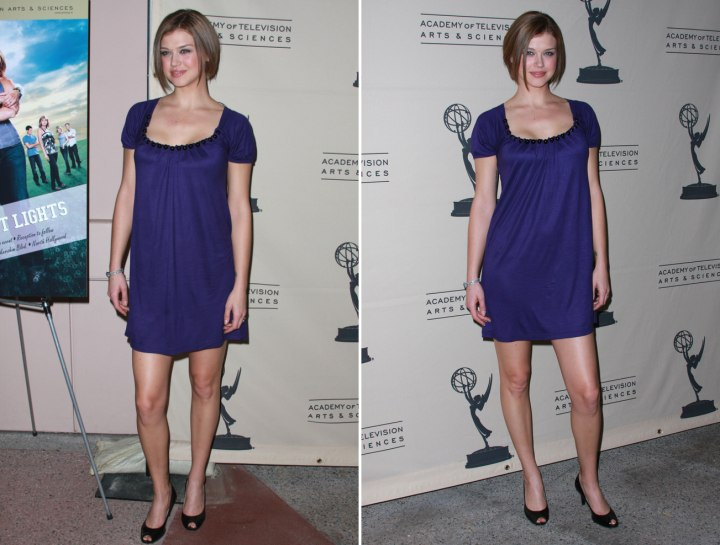 Adrianne Palicky style with hort hair and a short dress