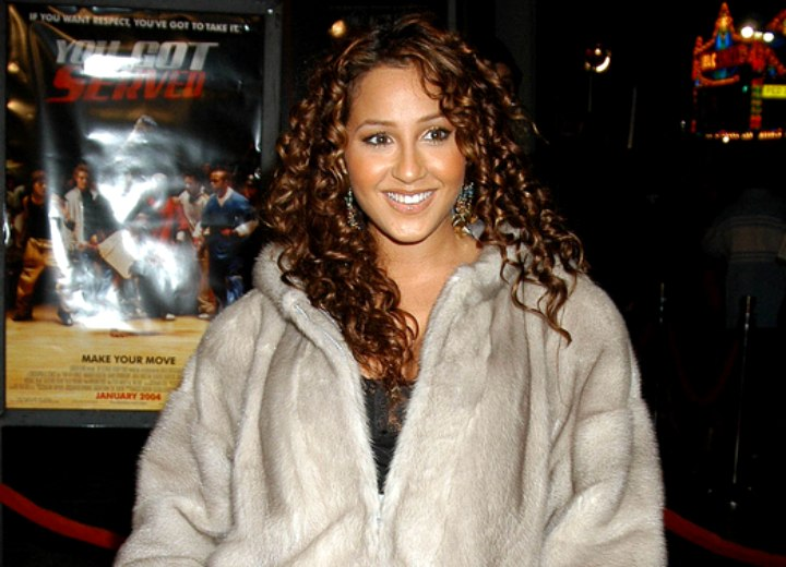 Adrienne Bailon with spiral curled hair