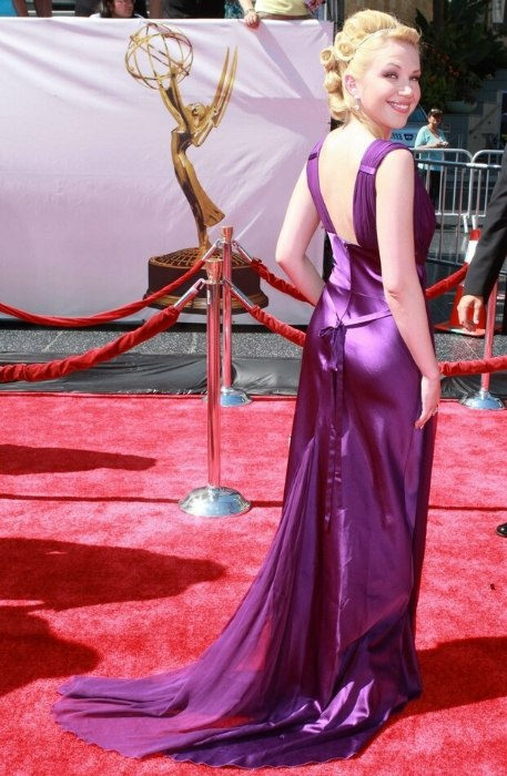 Adrienne Frantz Old Hollywood Look With A Long Dress And Hair In An Updo With Barrel