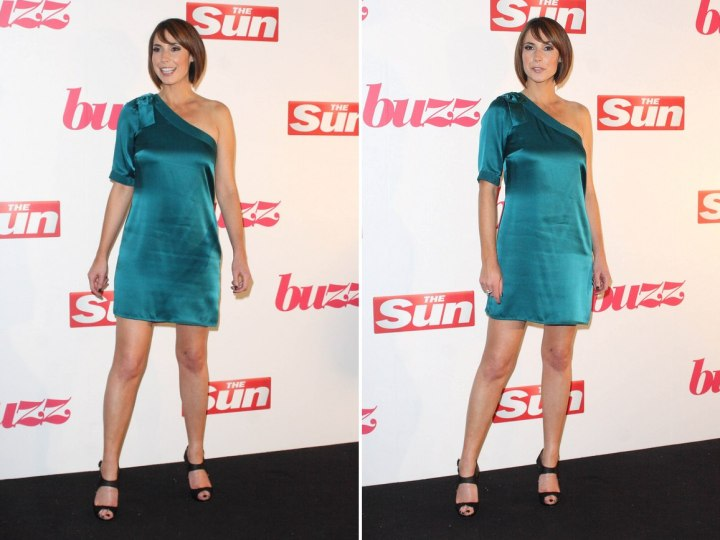 Alex Jones wearing a short blue satin dress