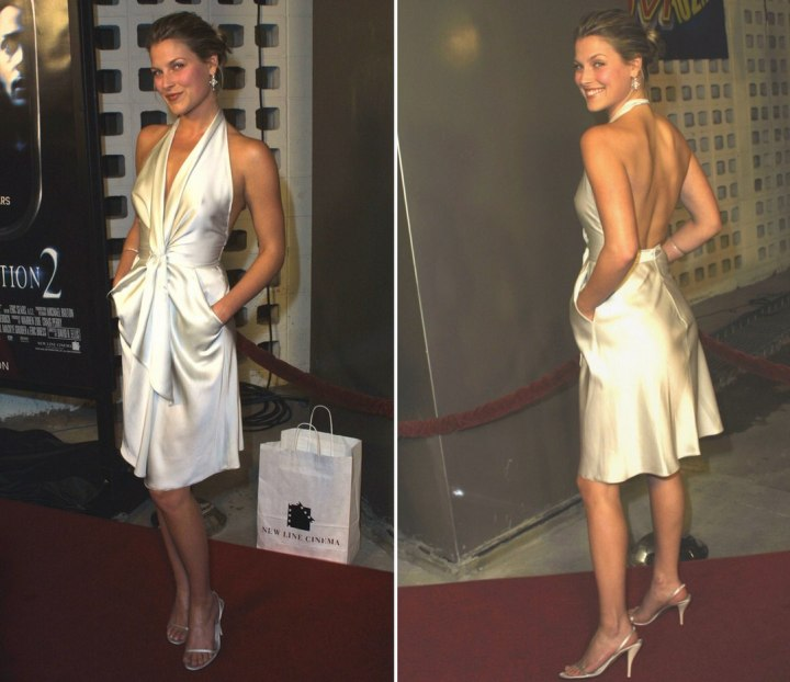 Ali Larter wearing an ivory white silk halter dress