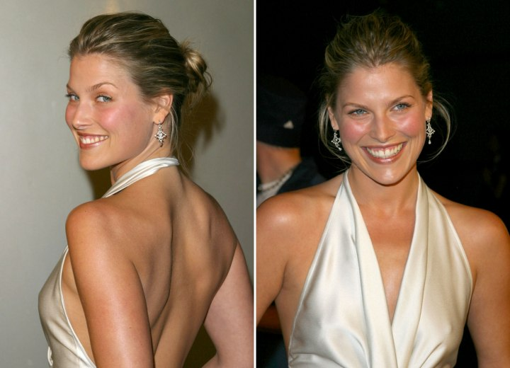 Ali Larter with her hair in an updo with a loose bun