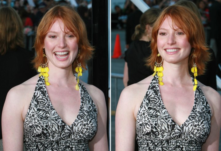 Alicia Witt - Simple hairstyle for medium long red hair