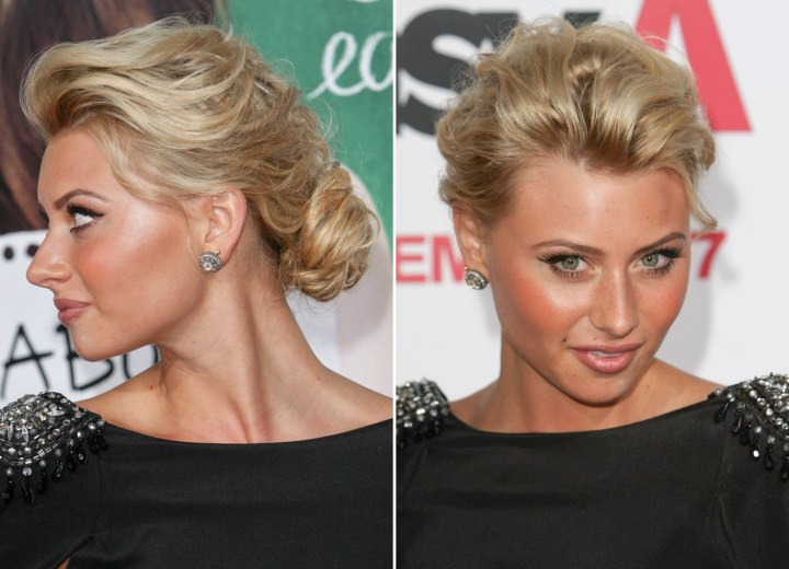 Side view of Aly Michalka's chignon upstyle