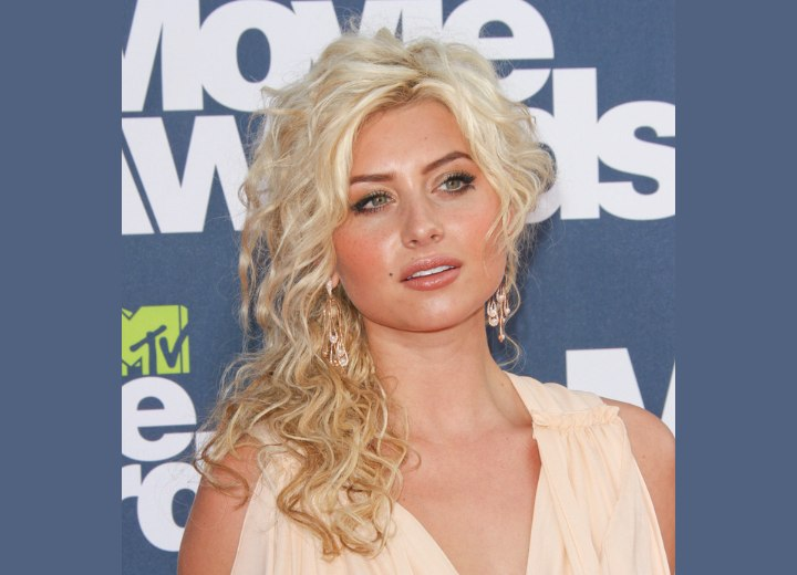 Aly Michalka wearing her hair partly up and short on one side