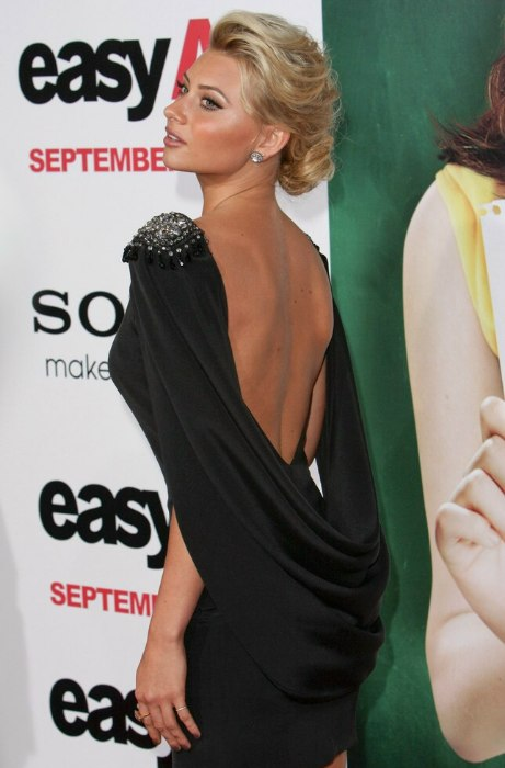 Aly Michalka With Her Hair Wrapped Up Around Into A
