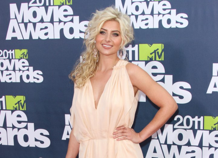 Aly Michalka - Semi upstyle and long gown