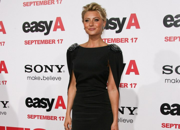 Aly Michalka wearing a short silk black dress
