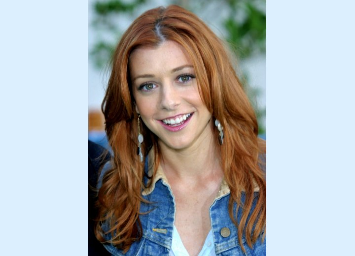 Alyson Hannigan's long auburn hair