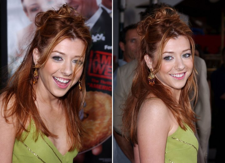 Alyson Hannigan - Semi updo with hair sweeping across the shoulders
