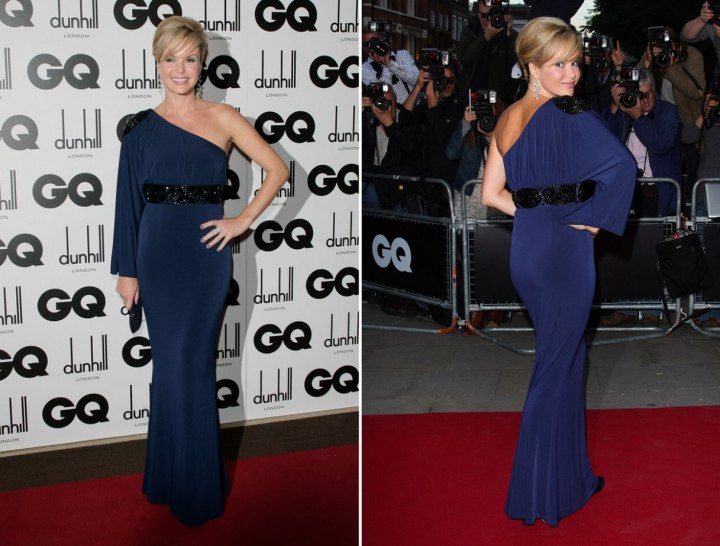 Amanda Holden wearing a one shoulder evening gown