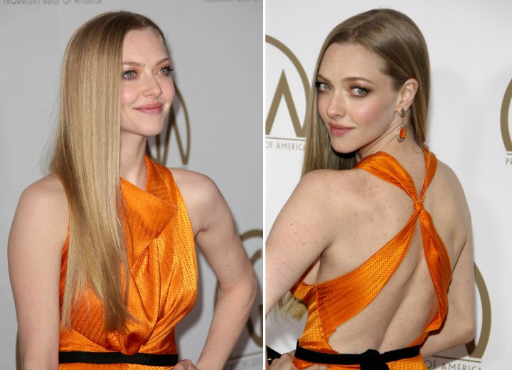 Amanda Seyfried - Long hairstyle with a soft cut line along the edge