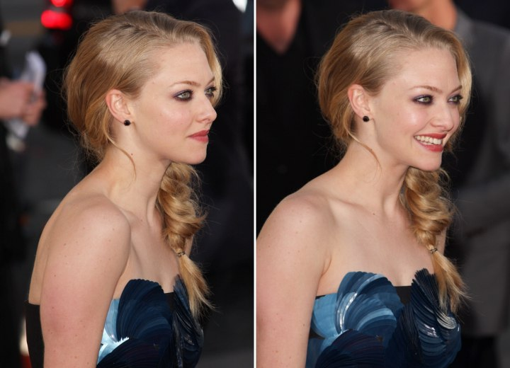Amanda Seyfried - Side view of her braided hairstyle