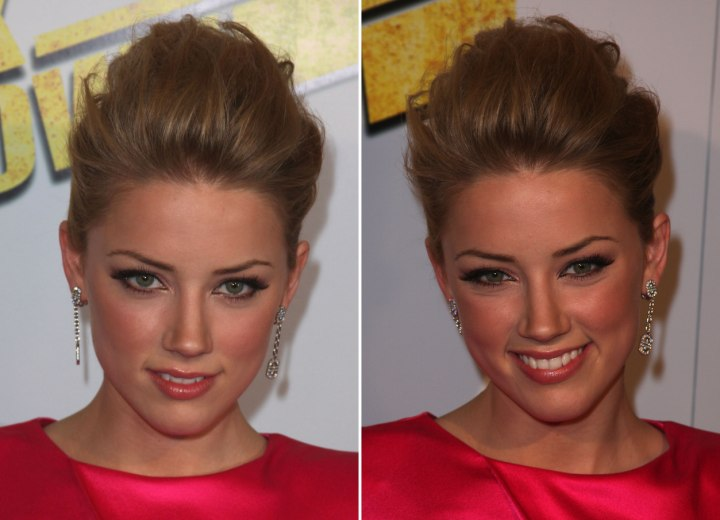 Amber Heard wearing her hair up with a lot of volume