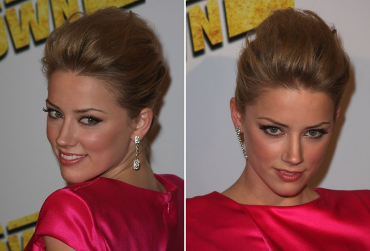 Side view of Amber Heard's updo