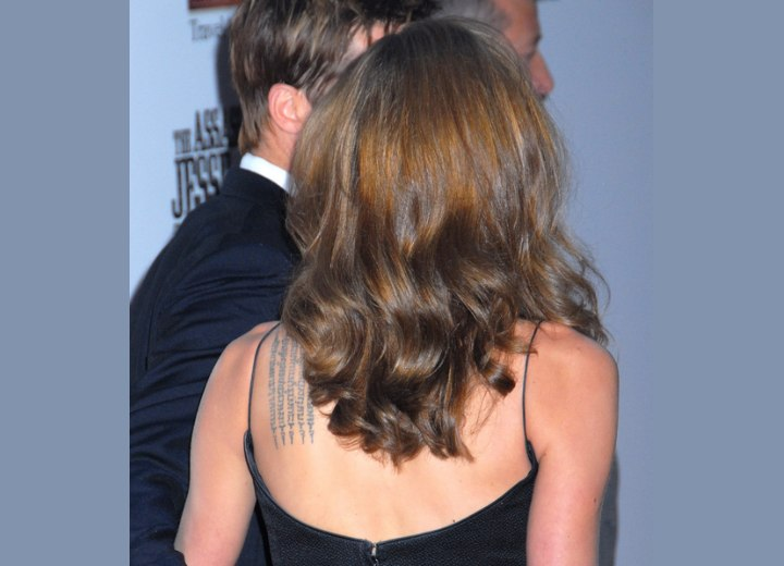 Back view of Angelina Jolie's long hairstyle